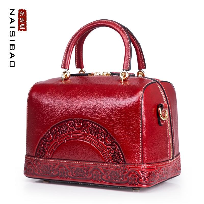 Echtem Marke Handtasche Frauen Blumenmuster Im Chinesischen Totes Hohe Stil Tasche Mode Aus Boston Weiblichen Vintage Red Leder Dark Name Qualität qP1EwzxaX