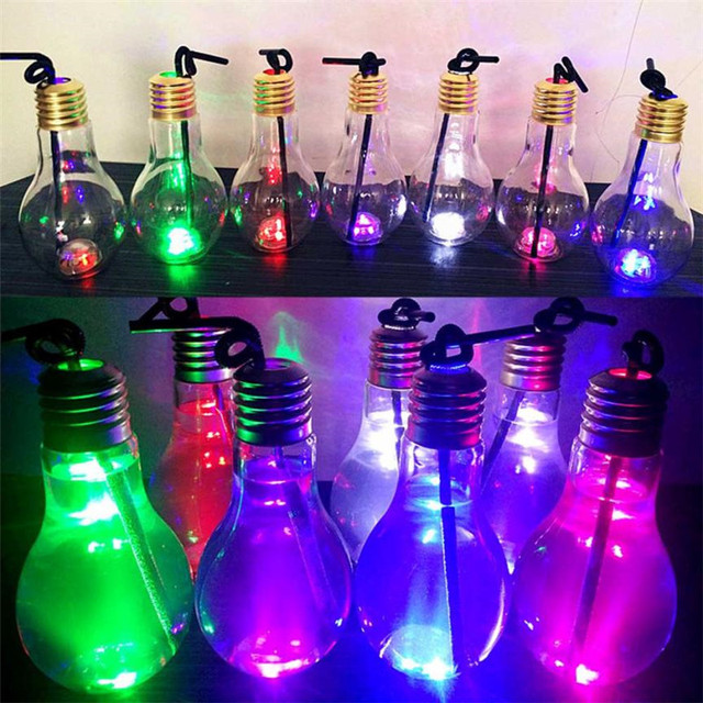 Baru Musim Panas Kreatif Glowing Lampu Bulb Botol Air Lucu Mode Susu Jus Botol Botol Jerami Perlengkapan Partai & Festival