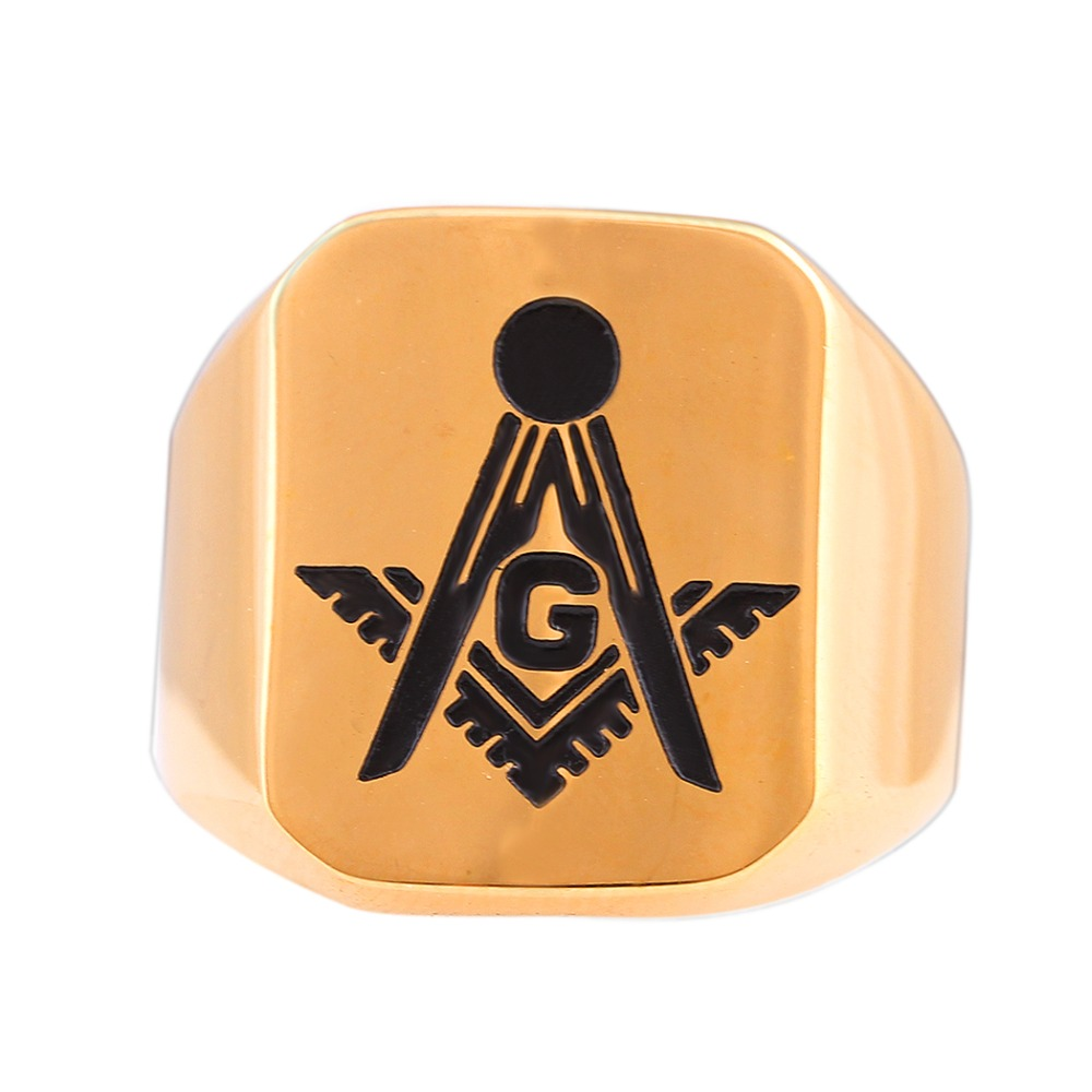 European Gold-Color Stainless Steel Mens Punk Style Rap Freemason Rings Finger Mason Ring Men Jewelry