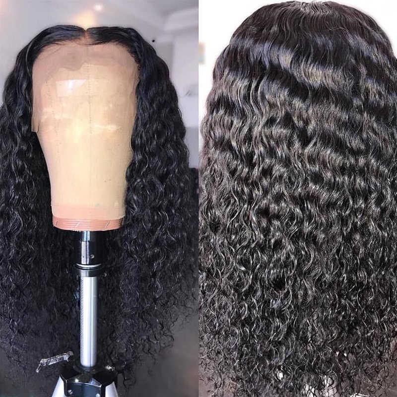 13x6 parte profunda transparente Invisible onda de agua encaje frente pelucas de cabello humano predesplumado HD Peluca de encaje Remy mujeres cierre Frontal peluca