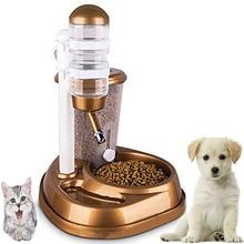 2 в 1 автоматической подачи домашних животных большой емкости поилка для животных с фонтаном стенд фидера бутылка для кошки собаки Еда чаша распределитель ПЭТ код