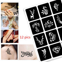 12 pics Henna Party Tattoo Stencils DIY Jagua Drawing Templates Airbrush Painting Mehndi Body Art Small Flash Tatto Stencil C31 pics