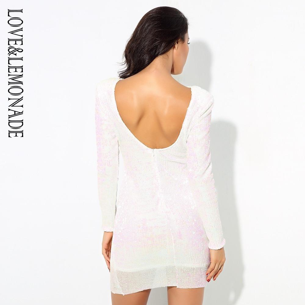 Elastico Indietro Amore Da amp; Spalla Di Partito Limonata Paillettes Bianco Vestito Lm0501 Rilievo Aperto wagZ6aSq
