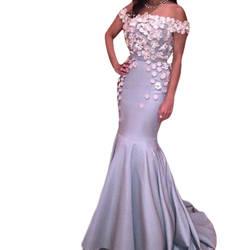 Элегантный Длинное Вечернее платье С Плеча Русалка Женщины Платье Вечернее Платье одеяние де вечер мода синий платье выпускного вечера