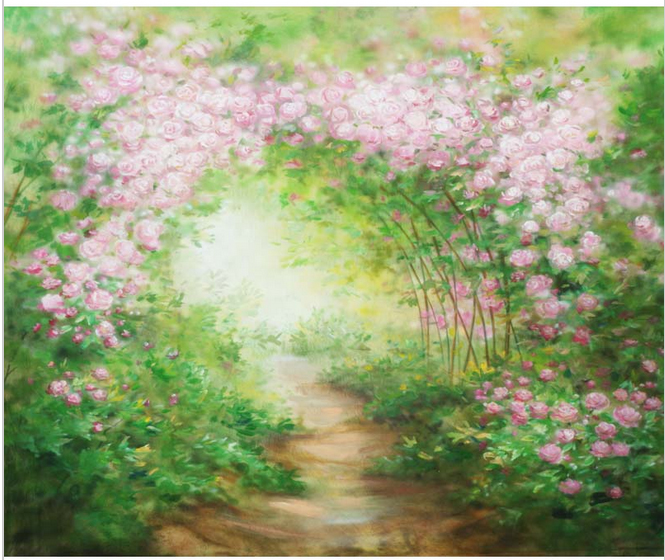 10x10ft Light Pink Flowers Tunnel Path Green Garden Custom