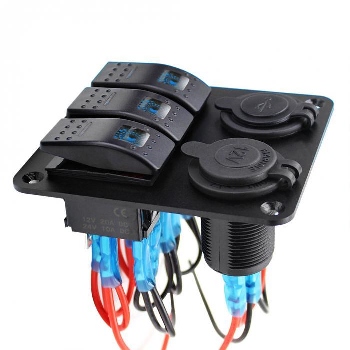 Wasserdicht 3 Gang LED Kippschalter Panel Dual USB Leistungsschalter ...