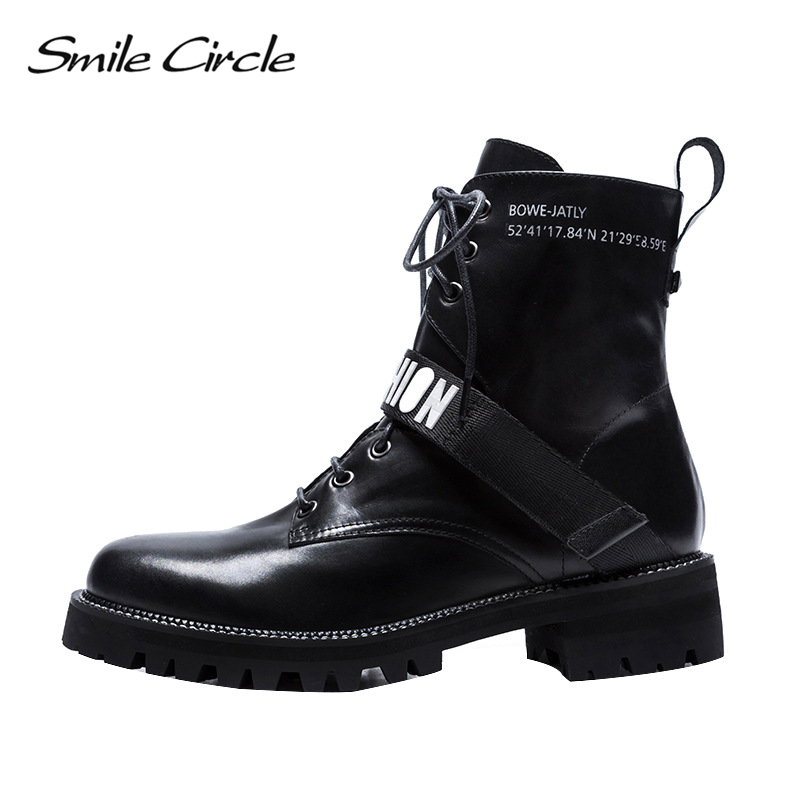 Smile Circle Ankle Motorcycle Boots for Women Genuine Leather Martin Short boots Lace-Up Platform Shoes women Autumn boots black : 91lifestyle