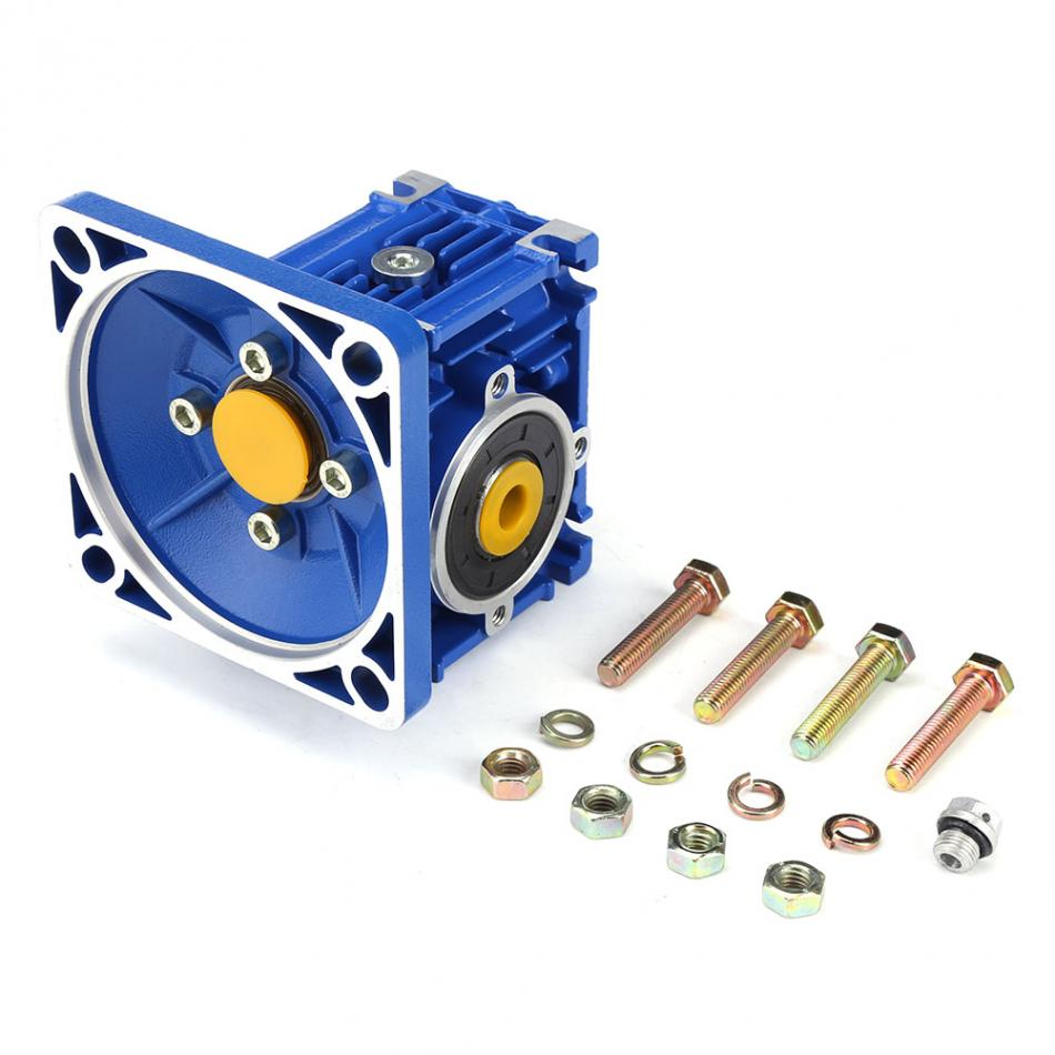 1pc Blue Color Aluminum Alloy Worm Gear Reducer Gearbox Ratio 1:5 1pc alloy