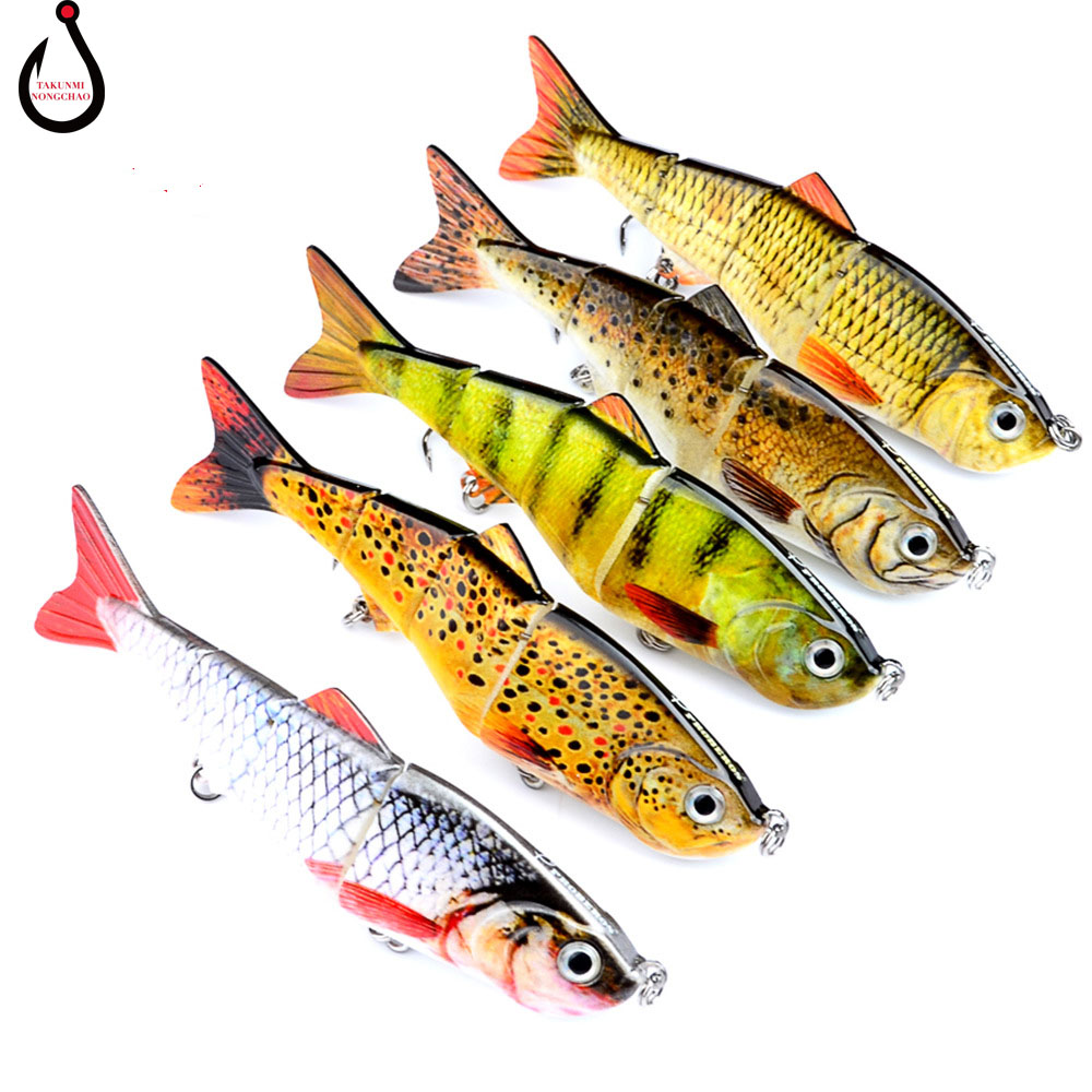 12cm 17g Fishing Lure 4 Segments Jointed Bait Hard Swimbait Crank Bait With 5 Color Lure Hooks Fishing Tackle LD-86