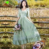 Mori Girls Cute Sweet Print Floral Lace Square Collar Embroidery Summer Green Long Retro Dresses New Women Fashion Fairy Dress