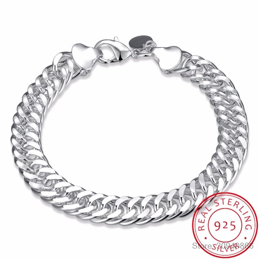 LEKANI Men's Jewelry 10mm Wide 8'' Bracelet 925 Sterling Silver Charm Snake Chain Bracelet & Bangle Pulseiras De Prata