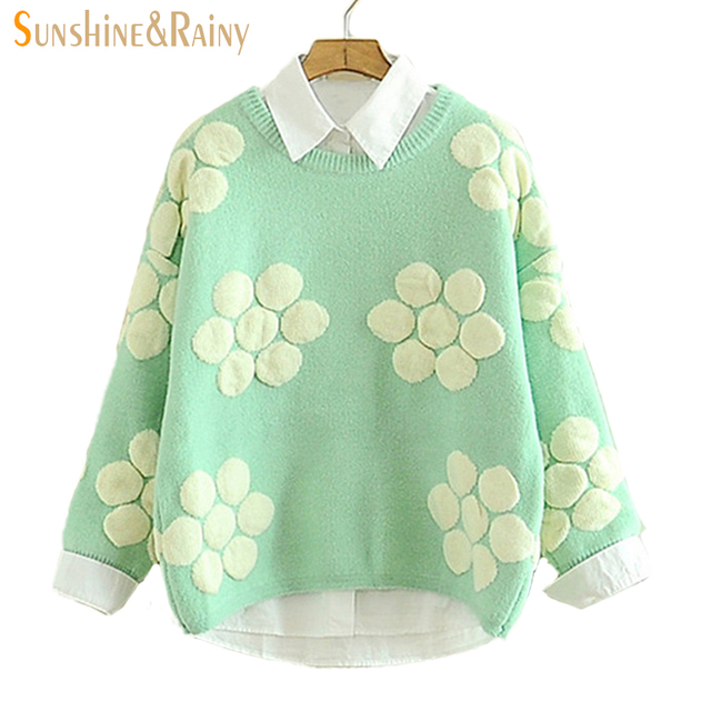 Autumn winter hollow  Solid geometry big flower  girl candy color solid patch pullovers cashmere knitted sweater for ladies