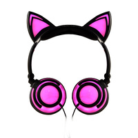 Lovely 3.5mm Glowing Headphones Cartoon Cat Ears Style Headset Folding Music Headset Headphone for Mobile Phone PC MP4 Mp3