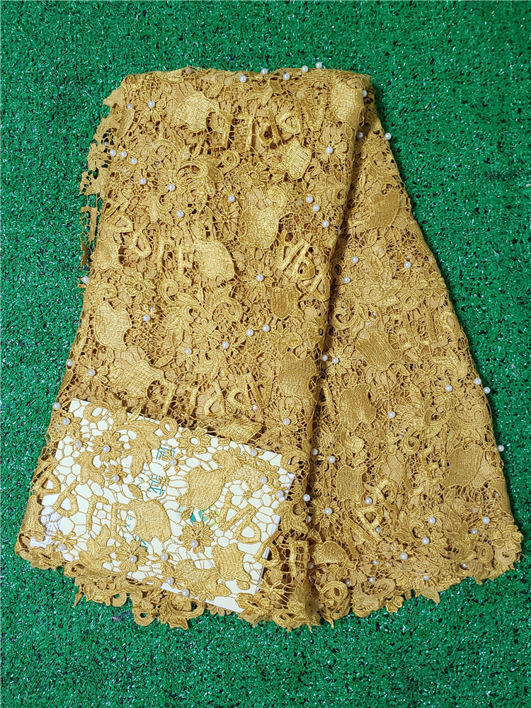 Amazing Wedding lace latest High quality Embroidered african guipure cord lace With Pearls fabric for Evening