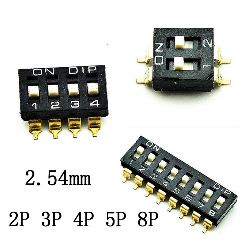цена на SMD Toggle Switch Black 2 Row 4 / 6 / 8 / 16 Pin 2 / 3 / 4 / 5 / 8 Positions Ways 2.54mm Pitch SPST