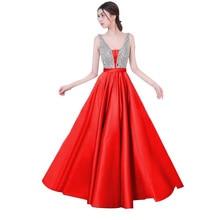 Élégant Sequin robe de soirée formelle Femmes A-ligne Longue Occasion Robes  tenue de fête V-cou Sleveless Lady robes de bal ac0052bf41ed