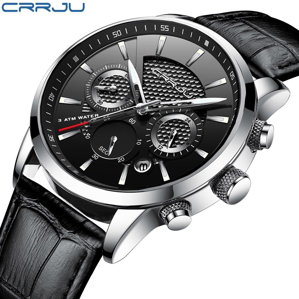 Crrju Chronograph Uhren Für Männer Stunde Herren Uhren Top Brand Luxus Quarzuhr Mann Leder Sport Armbanduhr Uhr relogio