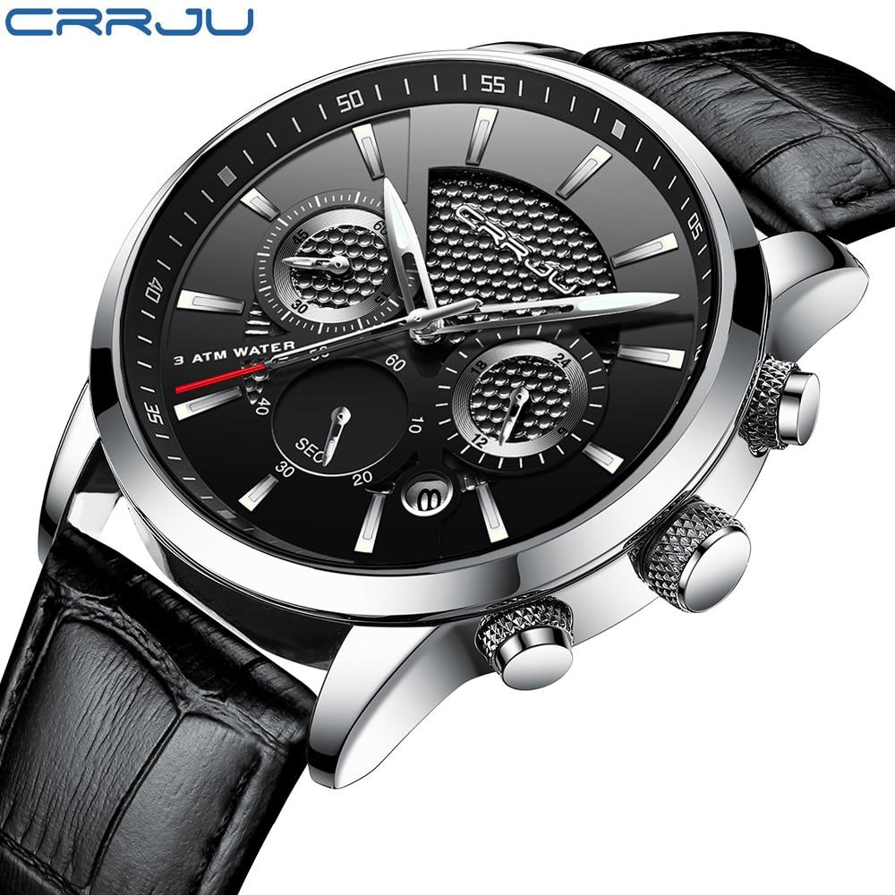 5a274cae7d2 Crju Chronograph Relógios Homens Horas Mens Relógios Top Marca de Luxo  Relógio de Quartzo De Couro Homem Esporte Relógio De Pulso Relógio relogio