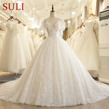 SL 7805 Fall Puffy Sleeve Backless Lace Applique Illusion Bodice V Neck Wedding Dress 2017