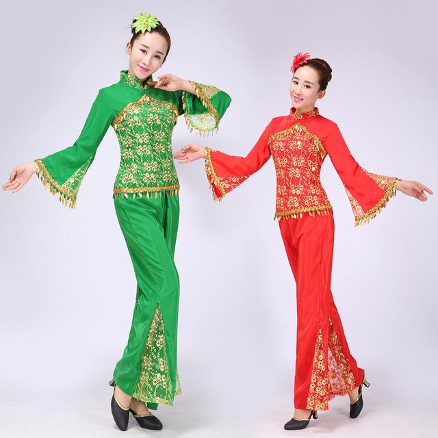 Novas Mulheres Vermelhas Das Senhoras Trajes de Dança Yangko Traje Nacional Chinês Tradicional Chinesa Antiga Clássico Stage Roupas Baratas