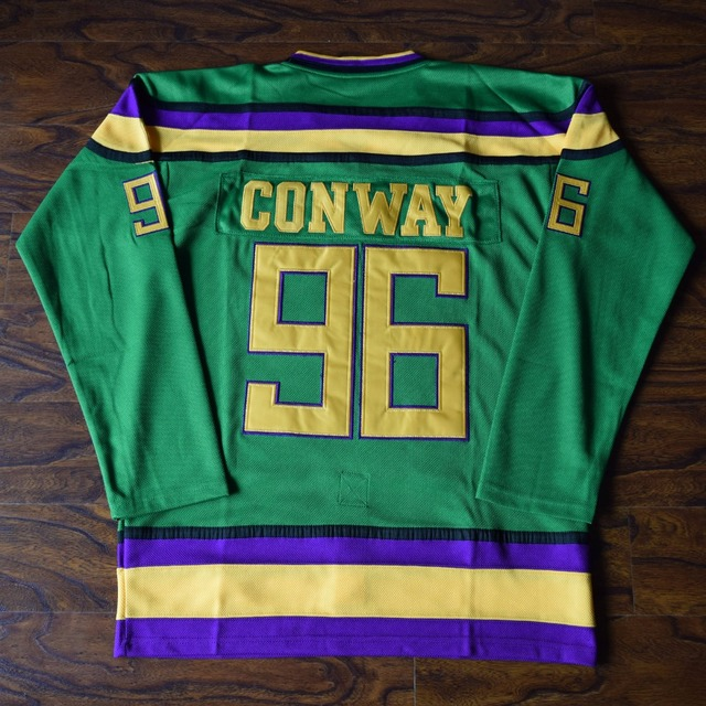 MM MASMIG Charlie Conway  96 Mighty Ducks Ice Hockey Jersey Stitched Green 0250f9c19d8