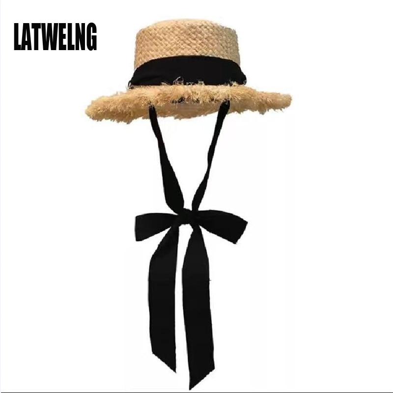 Wholesale STAR Parent-child Panama Hats For Women Wide Large Brim Beach Sun Hats With Fashion Long Belt Visor Hat Raffia Straw