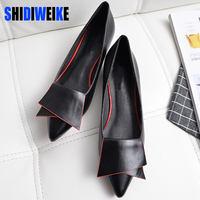 SHIDIWEIKE 2017 New Pointed Toe Low Heel Pumps Black Red White Shallow Mouth 1 5cm Thick