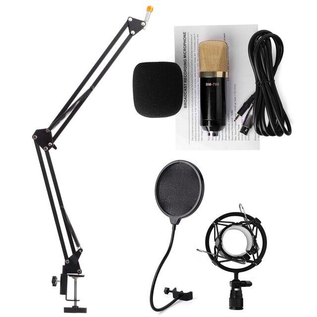 Аудио Звук Конденсаторный Микрофон BM700 Комплект + Ветер Экрана Поп-Фильтр + Подставка TH138