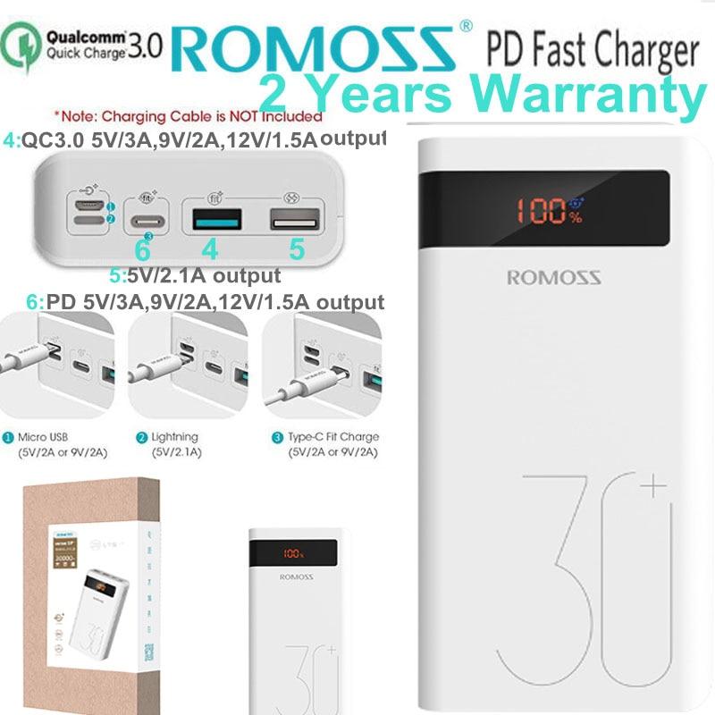 Batterie externe Romoss PD 30000 mah QC3.0 chargeur rapide 30000 mah 9 V 2A 12 V 1.5A pour iPhone X Xiaomi Mi8 Samsung S9 Nexus 6 p