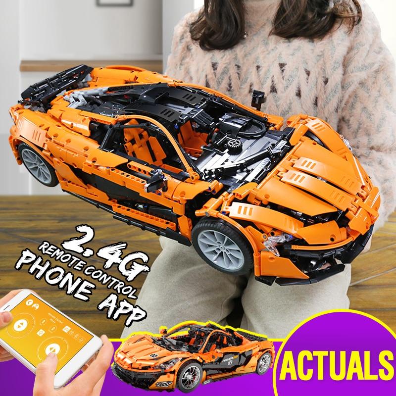 De l'espagne DHL 20087 voiture technique le MOC-16915 McLaren P1 jeu de voitures de course blocs de construction briques de construction de manière créative App RC jouets de noël