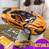 From Spain DHL 20087 Technic Car The MOC 16915 McLaren P1 Racing Car Set Building Blocks Bricks Legoingly App RC Christmas Toys