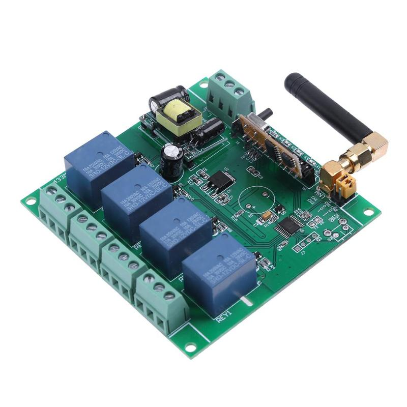 ALLOYSEED 4-Channel 433MHz AC220V Relay Module 1000M Remote Control Switch Board ifree fc 368m 3 channel digital control switch white grey