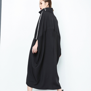 Image 2 - [EAM] 2020 nouveau printemps col montant à manches longues noir lettre fermeture éclair irrégulière grande taille solide robe femmes mode marée JE65001