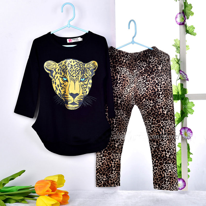 Girls Clothes Baby Girl Set Girl's Leopard Long Sleeve T Shirts Leggings Clothes Kids Clothes Girls Sports Suit Children Clothes 2pcs children outfit clothes kids baby girl off shoulder cotton ruffled sleeve tops striped t shirt blue denim jeans sunsuit set