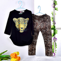 Meninas Conjunto de Roupas de Bebê Menina vestido do Leopardo da Menina T-shirts de Manga Longa Leggings Roupa Dos Miúdos Roupas Crianças Terno Esportes das Meninas roupas