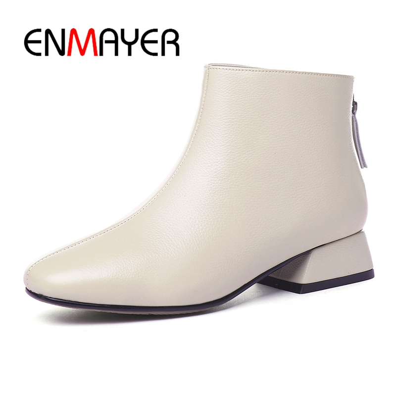 ENMAYER Square Toe Basic Zip Genuine Leather Ankle Square Heel Shoes Woman Winter Boots Size34 43