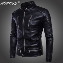 Aowofs brand 2018 new punk men's locomotive zipper leather motorcycleWindproof jacket trend personality locomotive clothing