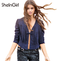 SheInGirl Autumn Sexy Women Jacket Solid Navy Blue Tassel Tie Front Chic Faux Leather Jacket Winter Deep V-neck Slim Outwears