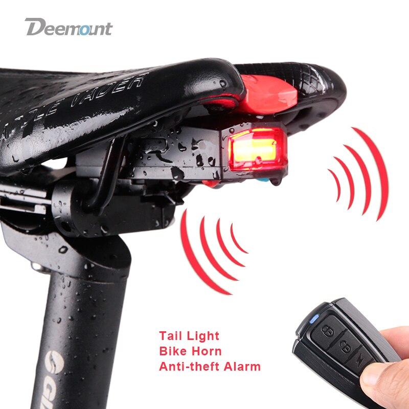 Luz Traseira da bicicleta + Anti-roubo de Alarme Localizador de Controle Remoto Sem Fio de Carga USB CONDUZIU A Lâmpada de Cauda Da Bicicleta Chifre Lanterna sirene de Advertência
