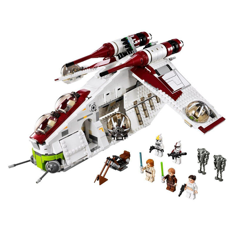 1175pcs Diy Technic Legoingly Star Wars Clone Series Genuine The Republic Gunship Blocks 75021 Bricks Toys For Children gifts new 5041 star wars series the the republic gunship building blocks bricks toys compatible with legoingly children model starwars
