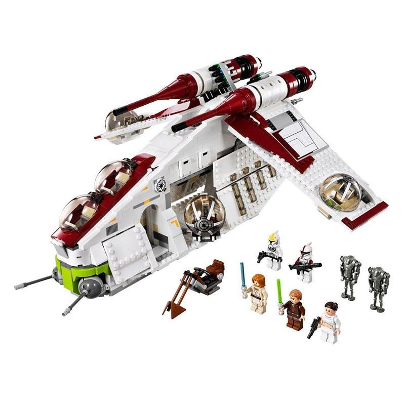1175pcs Diy Technic Legoingly Star Wars Clone Series Genuine The Republic Gunship Blocks 75021 Bricks Toys For Children gifts