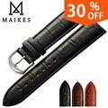 Maikes novo produto relógios pulseira preta brown pulseiras de relógio pulseira de couro genuíno faixa de relógio 18mm 20mm 22mm relógio acessórios