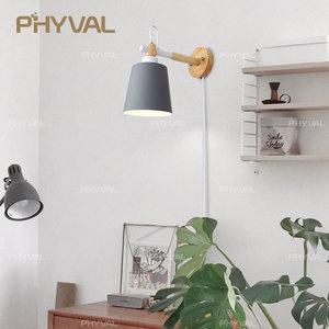 Image 3 - Lâmpada de parede de madeira nordic linha luz cabo com botão interruptor dimmer lâmpadas parede para o quarto sala jantar incandescente luzes parede