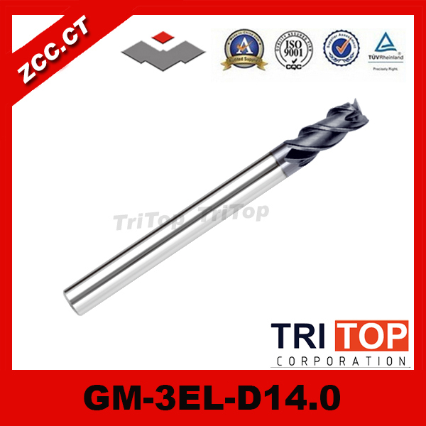 ZCC.CT GM-3EL-D14.0 Stable and high quality Solid Carbide 3 flute flattened Long cutting edge end mills cutter zcc ct gm 2el d14 0 solid carbide 2 flute flattened long cutting edge end mills with straight shank tungsten carbide drill bits