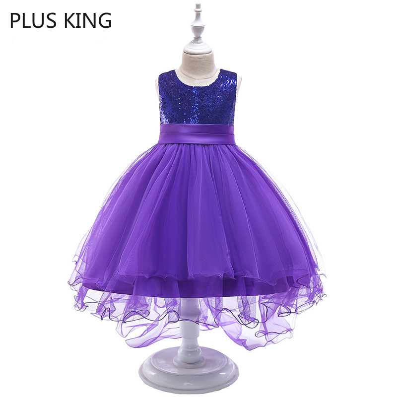 Purple Girls Dress Swallow Tail with Paillette for 4 To 10 Years Old Girl Dresses Princess 4 Choose