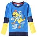 Novatx meninos marca t camisa azul crianças t camisa para o outono embriodery algodão t camisa dos desenhos animados manga longa para crianças meninos roupas