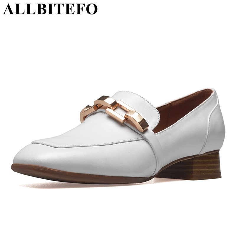 ALLBITEFO square toe genuine leather thick heel women pumps fashion chains fashion high heels casual spring high heel shoes nayiduyun women genuine leather wedge high heel pumps platform creepers round toe slip on casual shoes boots wedge sneakers
