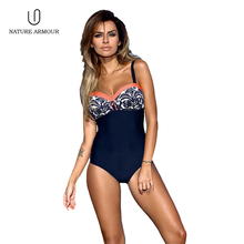 NATURE ARMOUR swimsuit woman 2018 striped floral push up one piece swimsuits plus size women swimming suit swimwear bathing suit