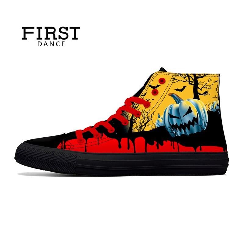 Première danse belle haut classique toile chaussures mode Graffiti Halloween citrouille 3D imprimé noir chaussures décontracté hommes baskets