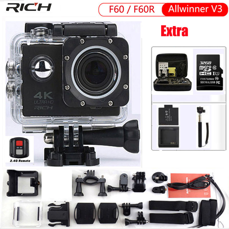 RICH Action Camera F60 4K/30fps 1080P/60fps 720P/120fps 2.0 170D Wifi Helmet Cam Mini Camera Waterproof Sport Camera 2017 arrival original eken action camera h9 h9r 4k sport camera with remote hd wifi 1080p 30fps go waterproof pro actoin cam